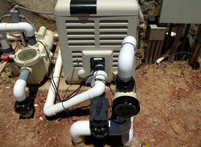 iChlor salt water chlorine system installed after the Pentair MaterTemp pool heater