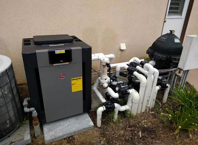 Newly installed Raypak pool heater in Poway, Ca