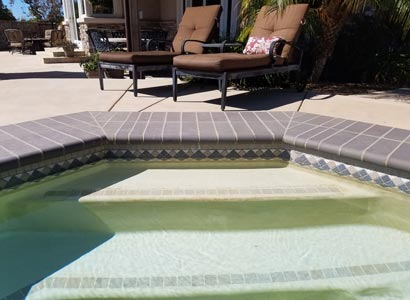 Pool repair for tile and hollow pool coping