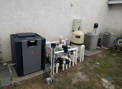 New Raypak pool heater in Lakeside with new pool automation