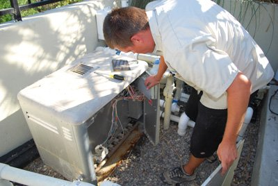 Inspecting if pool heater repair is not a good option based on the condition