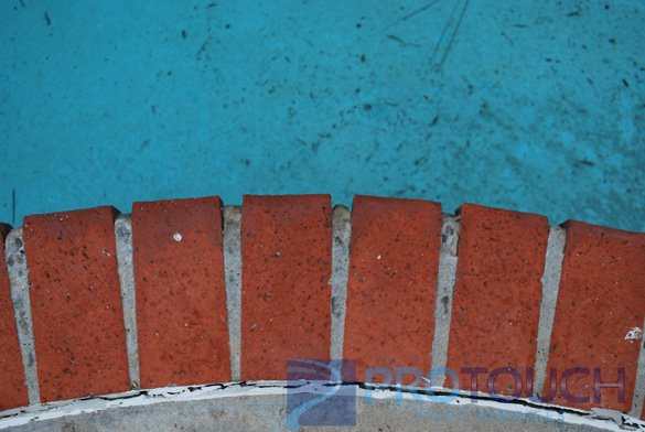 red brick swimming pool coping