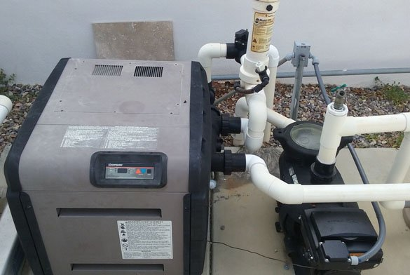 Hayward H-Series pool heater and Ecotech EZ pump