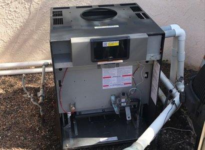 internal look at new Raypak 406A pool heater