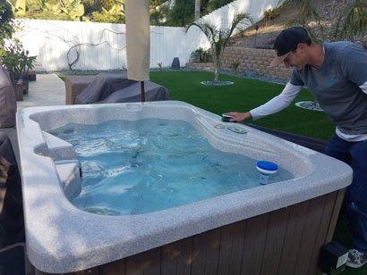 Cleaning a South Seas Spas fiberglass surface