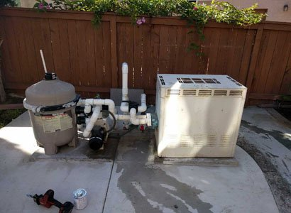 Old Pool equipment before removing anf replacing with new pool equipment