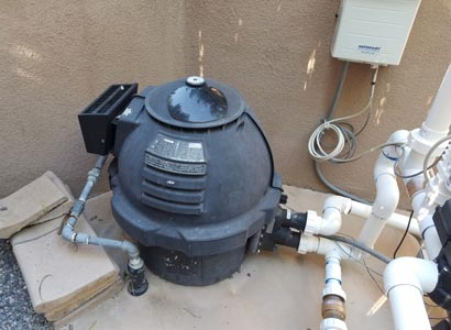 4S ranch pool heater during inspection